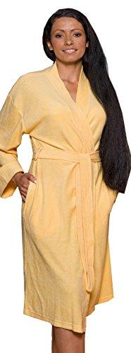Lashuma Leichter Mittellanger Framsohn Reisebademantel - Morgenmantel Jersey Damen Sommer Bademantel in 4 Farben, Farbe: 322 Limone - Gelb, Größe: M