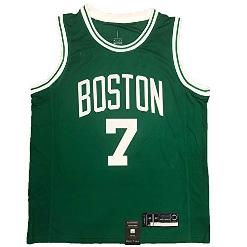 Retro Basketball Jersey, Brown No. 7 Game Basketball Jersey, Celtic Fan Basketball Shirt, Polyester Mesh, Used for Training and Competition Green-L