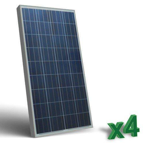 Conjunto de 4 Placa Solar Fotovoltaico SR 150W 12V total 600W Policristalino adecuado para Camper Caravan Camperista Chalet Boot