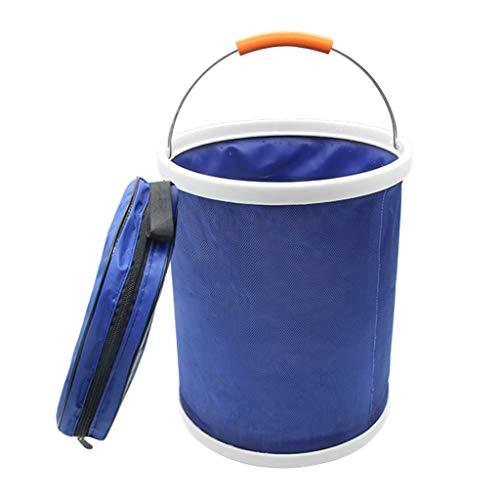 B Blesiya Cubo Plegable Plegable Al Aire Libre Barril de Pesca Cubo de Lavado de Autos para Acampar - Azul, Individual