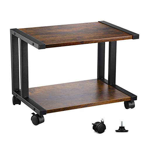 VANSPACE Desktop Printer Stand 2 Tier Wood Desk Storage Organizer Book Shelf, Under Desk Rolling Printer Cart for Fax Machine, Mobile Printer Stand with Swivel Wheels & Anti-Skid Feet, Vintage Brown