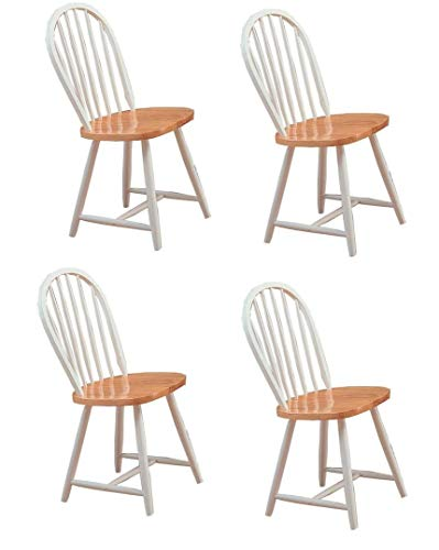Hesperia Windsor Dining Side Chairs Natural Brown and White (Set of 4)