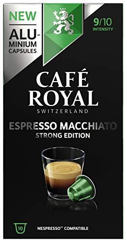 Café Royal 50 Espresso Macchiato Strong Edition Nespresso (R)* kompatible Kapseln aus Aluminium - Intensität 9/10 - 50 Kaffeekapseln (5 x 10 Pack) - UTZ - Kompatibel mit Nespresso (R)* Kaffeemaschinen
