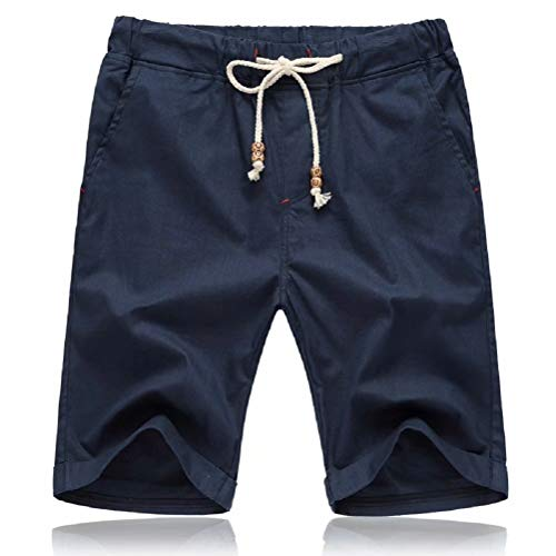 Tansozer Mens Shorts Casual Drawstring Summer Beach Shorts with Elastic Waist and Pockets (Navy Blue, Large)