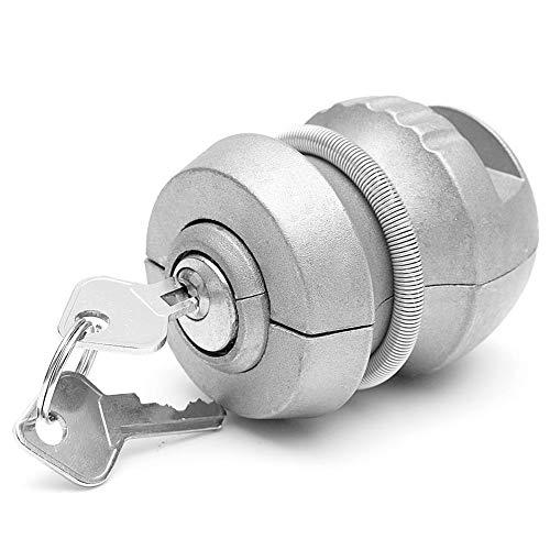 Candado universal de enganche de remolque con bola de remolque, bloqueo de bola de remolque, bloqueo de bola de remolque, bloqueo de seguridad antirrobo, aleación de zinc (plata)