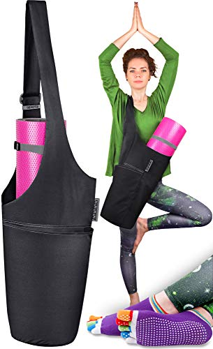 Jambala Large Yoga Mat Bag Carrier and Socks Bundle, 4 Pockets (I Want This Midnight Black & Ash Gray)