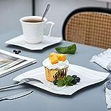 MALACASA, Serie Amparo, 18 teilig Set Porzellan Kaffeeservice Dessertteller Kaffeetasse mit Untertasse für 6 Personen - 5