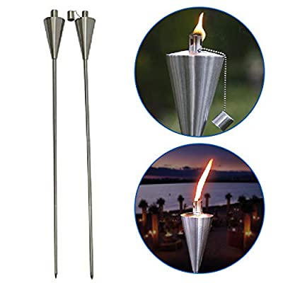 """EasyGo Patio Torch Outdoor Garden Oil Lamp Lanterns with Decorative Stainless Steel Canister and Stand Stake - 45 Inches Tall Each - Thick, 7.5"""" Long Lasting Fiberglass Wick - Strong Flame"""
