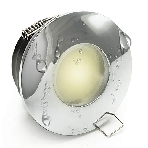 Planetitaly MR16 Spot LED encastrable IP65, éclairage pour cabine de douche, lumière pour salle de bain, hammam, 12 V, 7 W Bianco naturale Silver Cromato