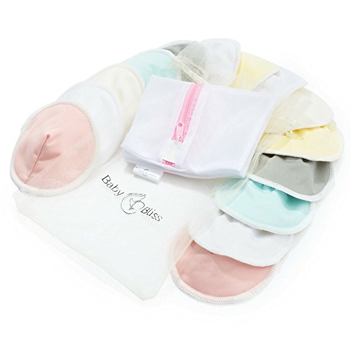 Organic Bamboo Nursing Pads (14pcs/7 Pairs) | Sizes: Medium 3.9' & Large 4.7' |Reusable & Washable | Soft & Super absorbent | Leak-proof | With Laundry & Organza Bags | Baby Shower Gift