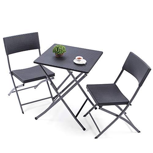 TAVR Furniture Muebles de Ratán PE al aire libre mesa y sillas cuadradas plegables, pequeño jardín Set de 3 piezas Bistro, mimbre resistente a todos los días, mimbre, color negro, CH1004
