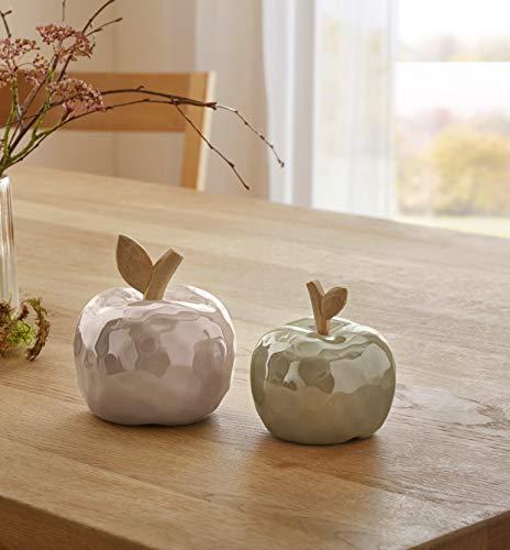 2er Set Äpfel aus Porzellan & Holz, beige/Oliv, Dekoobst, Deko Apfel