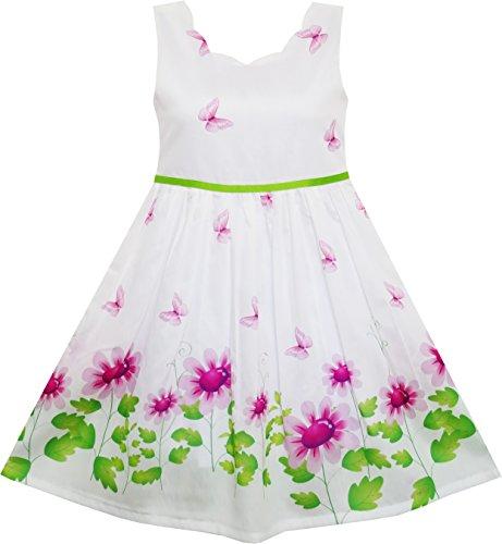 Sunny Fashion Vestito Bambina Viola Girasole Verde Foglie Farfalla 5 Anni