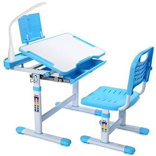 Forfar Interruptor de estudio para niños y sillas con luz LED, mesa de estudio infantil, altura regulable, diseño ergonómico, escritorio escolar, mesa basculante, cajón, soporte para libros