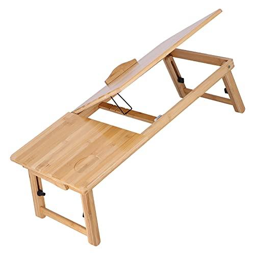 Escritorio de bambú para computadora portátil,ajustable en altura,plegable,portátil,multitarea,bandeja de cama, mesa de desayuno,teléfono inteligente,tableta,bandeja de regazo para computadora