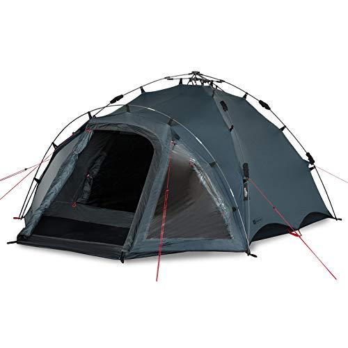 Qeedo Quick Oak 3 Personen Campingzelt, Sekundenzelt, Quick-Up-System - grau