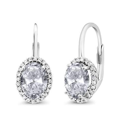 Gem Stone King 10K White Gold 2.34 Ct Oval White Topaz White Diamond Halo Lever-Back Earrings