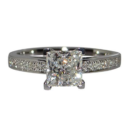 Ringe, Barlingrock Princess Luxury Square Diamant Engagement Braut Ring Hochzeit Finger Schmuck Vier Zinke Hochzeit Einfache Diamant Zirkon Ring