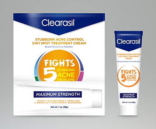 Clearasil Stubborn Acne Control 5-in-1 Spot Treatment Cream with Benzoyl Peroxide Acne Medication to Clear Acne, 1 Ounce (Pack of 3)