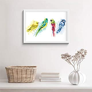 SC CREATIVES Colorful Cute Birds Watercolor Framed Art Prints with Glass 12 x 9 Inches Wall Art Gift Poster Paiting Home I...
