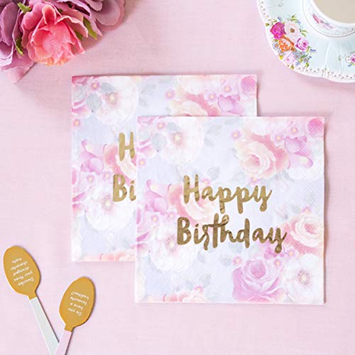 Talking Tables Truly Scrumptious; Servietten mit Blumenmuster und Happy Birthday-Schriftzug in Goldfolie für Teekränzchen und Geburtstagspartys, Bunt und Gold (16 pro Pack)