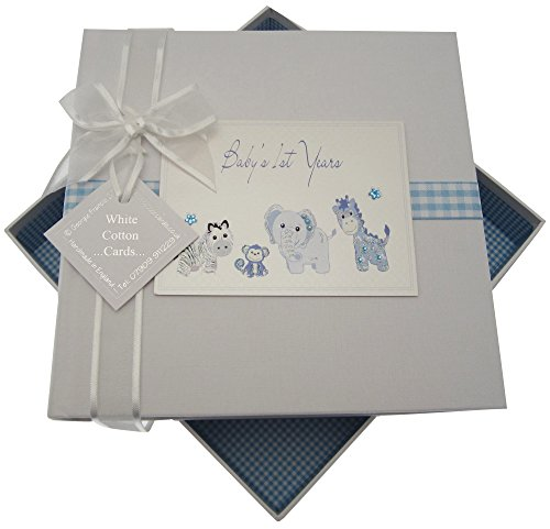White Cotton Cards Baby's First Years Medium Album Jouets (Bleu)
