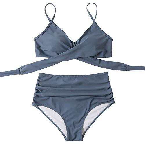 VGGV Neue Damen abnehmbare Schnür-Bikini-Badeanzug-Nähte einfarbig Bedruckt sexy Push-up-Bikini-Badeanzug mit hoher Taille Schnür-Strandkleidung zum einfachen An- und Ausziehen des Badeanzugs