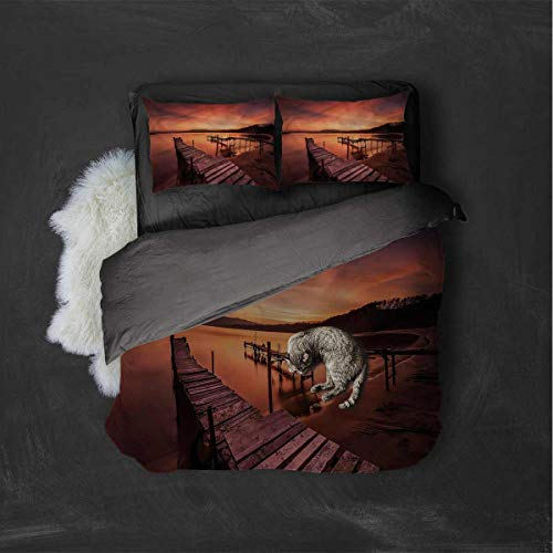 Luoiaax Orange 3-Pack (1 Duvet Cover and 2 Pillowcases) Twilight at Seaside Polyester (Twin)