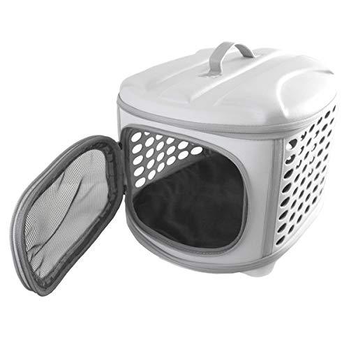 YATEK Transportin Plegable Perros y Gatos Lavable Recomendado para Mascotas de hasta 6kg de Color Gris Claro