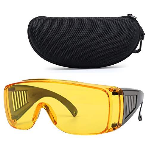 Shooting Glasses Over Eyeglasses, LaneTop AntiFog Safety Goggles Over Prescription Glasses OTG for Men and Women ANSI Z87 Protective Eyewear UV Protection - Yellow Lenses