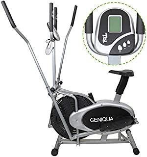 Flex HQ Elliptical Cross Trainer Machine and Exercise Bike 2 in 1 with Pulse Rate Sensor Grips and Tension Adjustment System for Home Office Gym