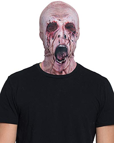 Faux Real Unisex-Adult's Halloween 3D Photo-Realistic Full Fabric Face Mask, Missing Eyes, One Size Fits Most