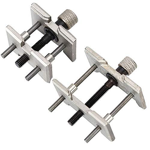 HINMAY Uhrenöffner mit verstellbarem Öffner, 2 Stück, Uhrmacher-Reparatur-Werkzeug, Uhrwerk-Halterung, Klemme, Uhrengehäuse, Rücköffner, Reparatur-Entferner, Werkzeug, Silber, Free Size