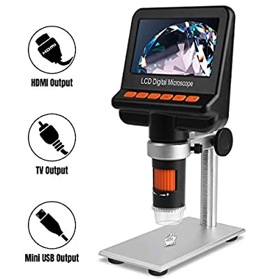 LCD Digital Microscope with Polarizer, HD Output 1080P Digital 1200x Magnification for SMD Soldering Work Jewelers Coins Collection