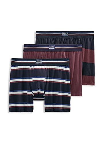 Jockey Men's Underwear USA Originals Cotton Stretch Boxer Brief - 3 Pack, Navy Stripe/Deep Maroon/Deep Maroon Stripe, l