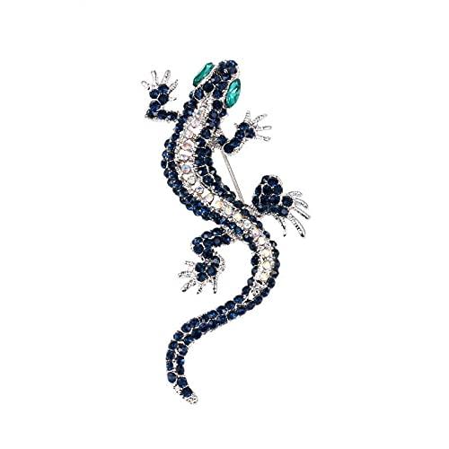 Broches de lagarto de cristal retro para mujeres y hombres, ropa vintage vestido de disfraz de Gecko forma de animal regalo de fiesta por defecto