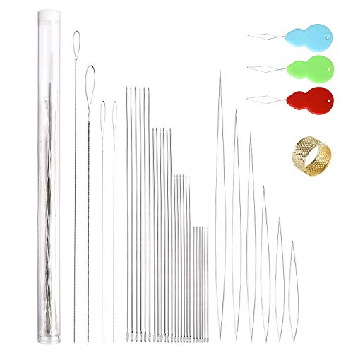 Peirich 38 Pcs Beading Needles with Bottle, Seed Beads Needles Stainless Steel Beading Needle Long Straight Beading Thread Needles Embroidery Big Eye Collapsible Beading Needles for Jewelry Making