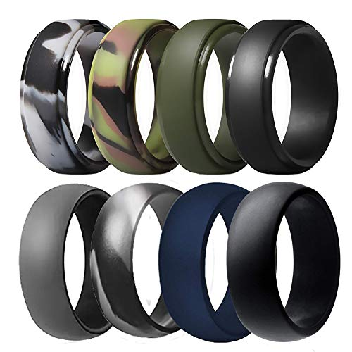 Silicone Wedding Ring for Men, Breathable Rubber Wedding Bands for Crossfit Fishing Hunting-8 Pack (Camo,Navy Blue, Olive Green, Dark Grey, Black, Size 9 - (18.95 mm))
