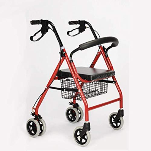 PAP Lichtgewicht Vouwen Verstelbare Walker Rijden Medische, Oude Man Duwen Scooter Kan zitten in Oude Winkelwagen te kopen Vier Voet Crutches Walker, rood, een
