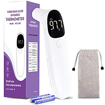 Touchless Forehead Thermometer for Adults,Infrared Digital LCD Display Baby Thermometer,Ear Thermometer for Fever, Non-Contact Forehead Thermometer for Children