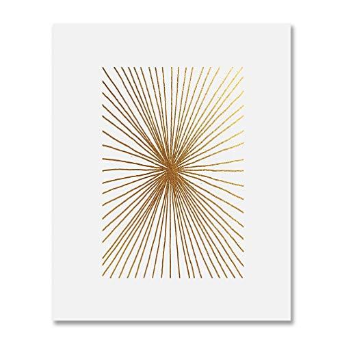 Burst Lines Gold Foil Art Print Abstract Hand Drawn Metallic...