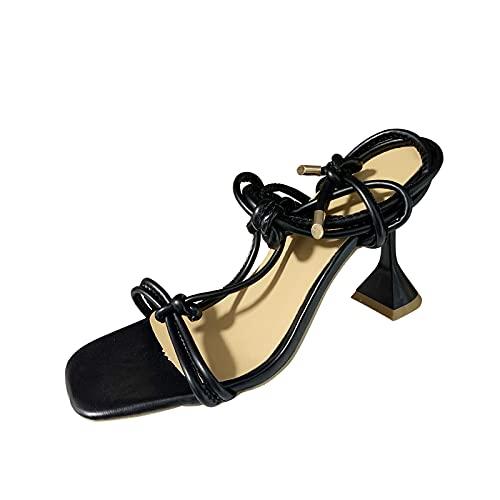 Sandalias de tacón con aguja y punta cuadrada para mujer, sandalias de verano, sandalias de tacón para mujer, tacón de noche, elegante, elásticas, modernas, a la moda, Negro , 39 EU