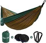 Glymnis Amaca da Giardino Amaca da Campeggio capacità di Carico 300kg con Kit di Fissaggio Tessuto 210T 275x141 cm per Campeggio Giardino Escursioni Verde