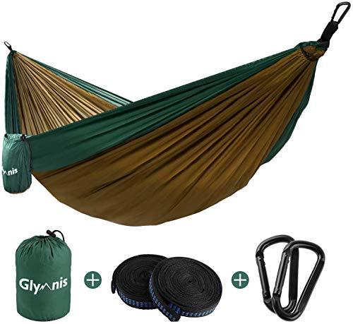 amaca 1 posto Glymnis Amaca da Giardino Amaca da Campeggio Capacità di Carico 300kg con Kit di Fissaggio Tessuto 210T 275x140 cm per Campeggio Giardino Escursioni Cammello-Verde