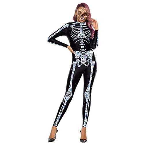 Disfraz Esqueleto Mujer Traje para Disfraces de Terror Skeleton Estampado Payaso Calavera Monos para Halloween Carnaval/S