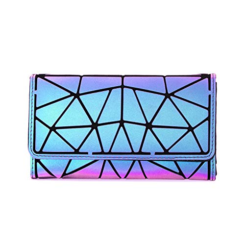 Geldbörse Damen Lang, LOVEVOOK Faltbare Brieftasche, Geometrische Holograohic Tasche für Karten, Portemonnaie Portmonee Kreditkartenetui, Wallet Handytasche für Women