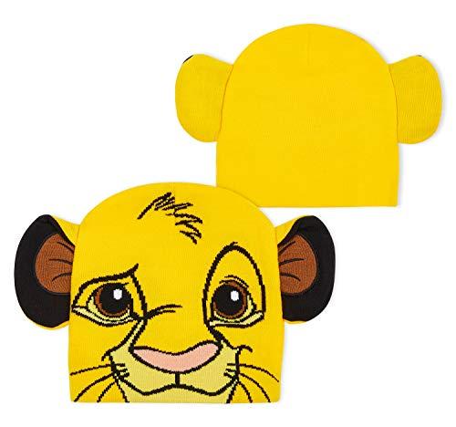 Disney Bonnet Enfant Mickey Mouse ou Roi Lion - Bonnets Chauds pour Enfants avec Oreilles 3D - Accessoires Hiver pour Garçon ou Fille (Jaune)