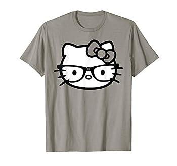 Hello Kitty Black and White Nerd Glasses T-Shirt