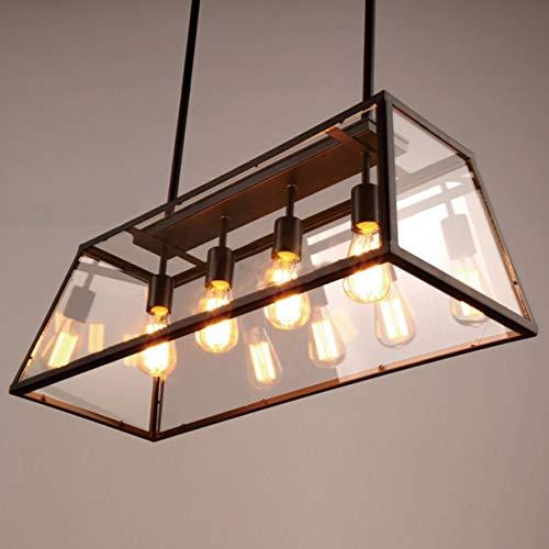HL HL407 VERRE style industriel cru E27 plafond lampe pendentif en métal rétro Edison boîte de verre lustre HL407G