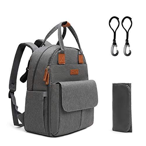 Kkomforme Baby Wickelrucksack Wickeltasche mit Wickelunterlage, Multifunktional Große Kapazität Babytasche Reiserucksack für Unterwegs(Grau)